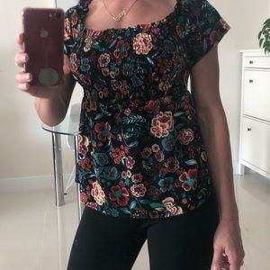 Flower print black blouse